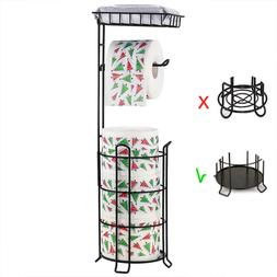 Toilet Paper Holder Stand,with Top Shelf Storage 3 Mega Roll