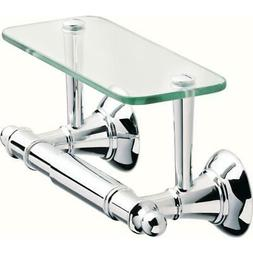 Delta Toilet Paper Holder with Glass Shelf in Polished Chrom
