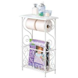 Collections Etc Toilet Paper And Magazine Holder Table, Whit