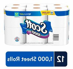 Scott 1000 Sheets Per Roll Toilet Paper, Bath Tissue 12 Pack