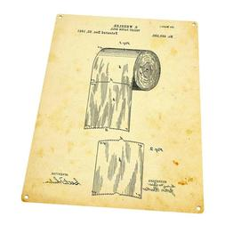Toilet Paper Patent Drawing Metal Sign; Wall Decor for Bath