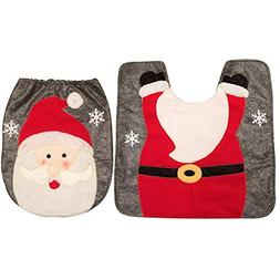 Toilet Seat Covers - Cute 2pcs Set Christmas Santa Snowman T