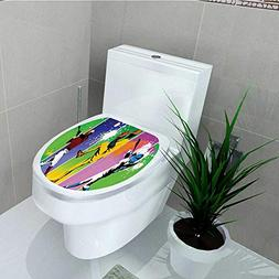 Toilet Seat Wall Stickers Paper Players in Different Positis