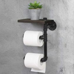 Toilet Tissue Holder Wall-Mounted Wooden Tolit Paper Roll Ho