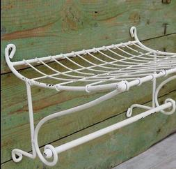 Towel Holder-Wall Shelf-White Metal-Bathroom-Kitchen-Paper T