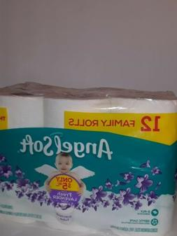 ANGEL SOFT Ultra Toilet Paper, 12 Count FAMILY ROLLS Lavende