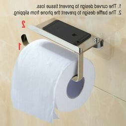 Wall-Mount Stainless Steel Toilet Paper Holder Phone Stand B