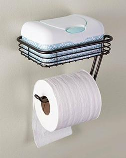 Wall Mount Toilet Tissue Paper Roll Holder and Dispenser wit