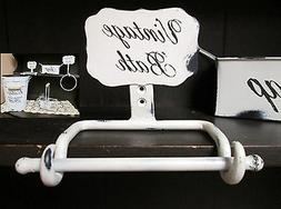 Wall Mounted Toilet Paper Holder Distressed White Vintage Ba